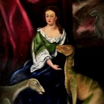 A painting of Queen Anne, last of the Stuart royalty, posed with two dinosaurs in a very maternal pose