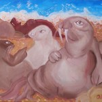 Painting of a bunch of walruses lounging around