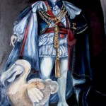 A portrait of the prince Regent (George IV) standing in full state regalia, posing with a dodo. Both of them are now extinct but only the dodo was delicious.