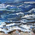Oil painting of waves crashing at the beach.