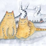 Painting of three tabby cats
