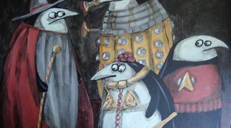 painting of penguins dressed up for cosplay, as gandalf, princess leia, a red shirt from star trek, and a dalek