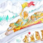 In the ice sled at the winter olympics, being cheered on by dog things.