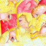 Painting of what happens in an inflatable bouncy castle at a fair or childs birthday party