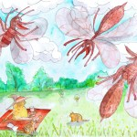 painting of the happy mosquitos who have smelled me out and are going fly down and suck out my blood, leaving me itchy for the rest of the season
