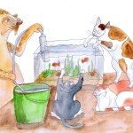 Painting of the cats helping clean the fish tank