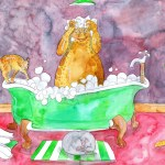 Painting of the cats helping one take a bath.