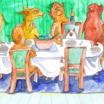 Painting of a dinner party with cats helping out.