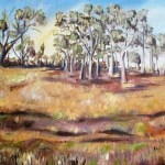 Oil painting of trees and dunes at wyperfeld national park