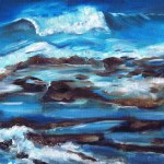 Oil study of a wave crashing on the shore