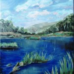 oil painting that was not entirely successful of the snowy river
