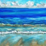 Painting of waves churning up sand at the beach by avril e jean