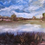 Oil painting of the lake at jells park from the bird hide