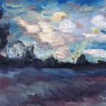 Oil painting of smooshy swirly clouds at sunset