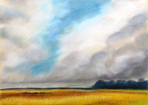 Painting of storm clouds coming in over wheat feilds, western victoria.