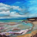 Small oil paiting of beaumauris beach with reflectivesand