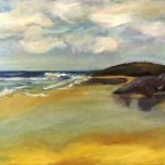Oil painting of a reflective beach, artwork by avril e jean