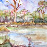 Painting of the lake at Jells Park