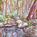 Painting of a forest witha quiet stream, Blackburn Lake, Victoria