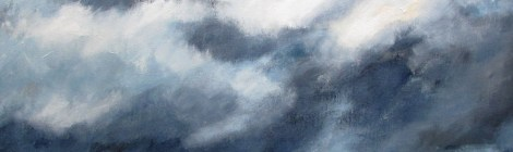 oil paiting of turbulant skies over turbulant waves in the ocean.