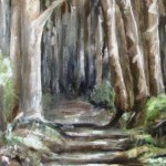 oil painting of a path in Wright's forest, cockatoo, melbourne