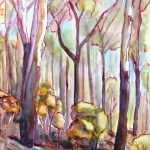 Landscape painting of the burned vegetation at Treemont, mount dandenong