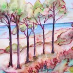 Small ink and watercolour study of trees lined up at a beach