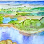 Landscape painting in cool greens and blues overlooking a river, out to sea.