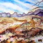 Painting study of rocks and distant vegetation at Terrik Terrik National park