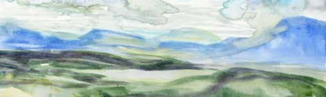 watercolour painting of vista of the Australian Alps.