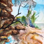 Watercolour painting of acliffat the grampians national park