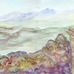Watercolour painting of a view over a valley ofthe grampians