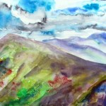 Watercolour painting of rolling hills