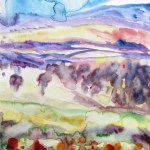 Watercolour abstract painting of a landscape with red flowers in the foreground