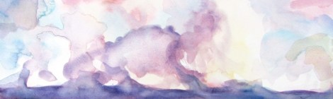 watercolour painting of a sunset reflected in water through puple clouds