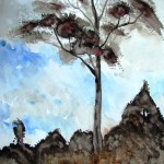 A watercolour painting of a eucalpyt tree in shadow