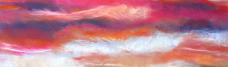 Pastel paiting of a bright pink sky at sunset over a distant tree landscape