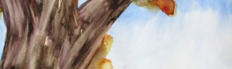 A watercolour of a tree on a hill by australian artist, Avril E Jean