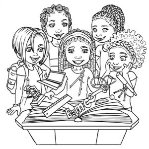 Colouring books featuring African American children with
