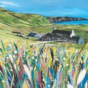 Avril Thomson Smith Croft House Painting Peat stacks Unst