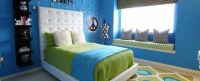 Bedroom colors ideas  blue and bright lime green ...