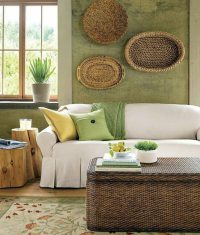 Green wall color  can be reached by a trendy decor ...