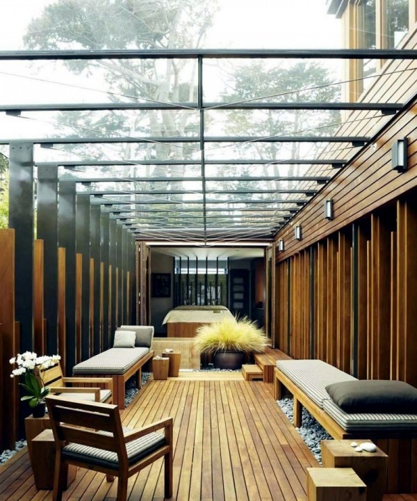 Contemporary wooden house Japanese elements and courtyard with a glass roof  Interior Design