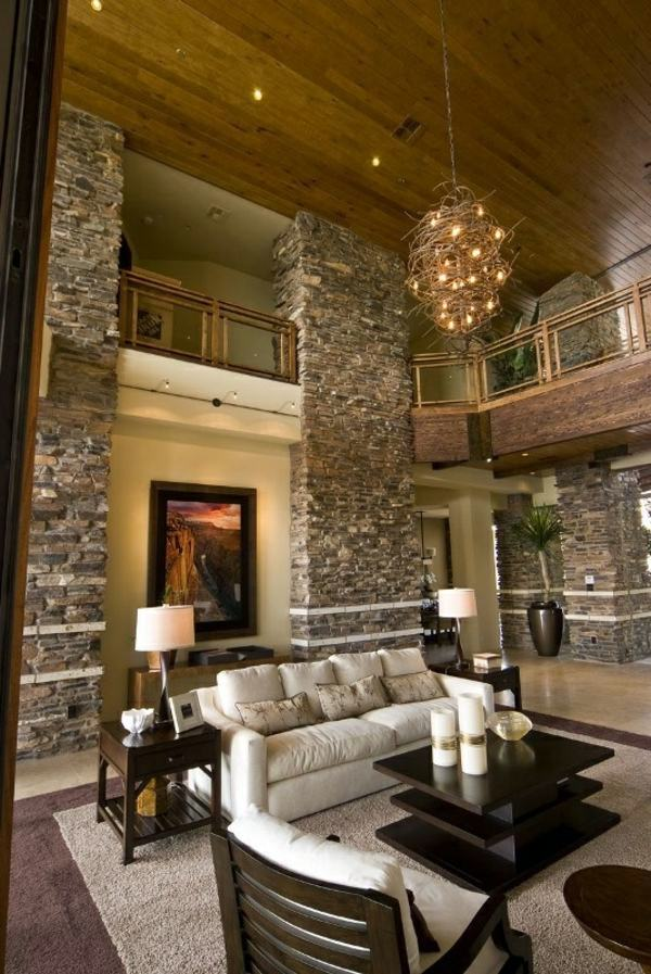 Receive the natural home  natural stone wall in the living room  Interior Design Ideas  AVSOORG