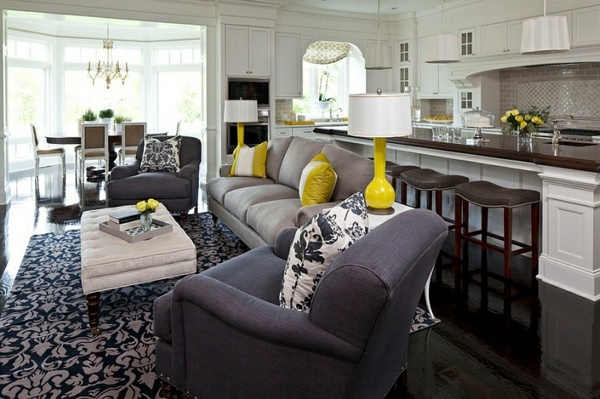 interchangeable sofa velvet sectional with chaise living room color scheme – gray and yellow | interior ...