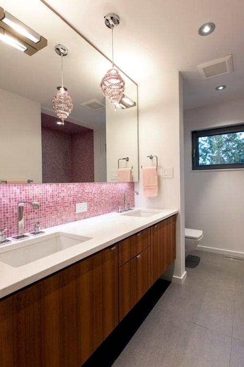 In color bathed: elegant ideas for pink bathroom designs ...
