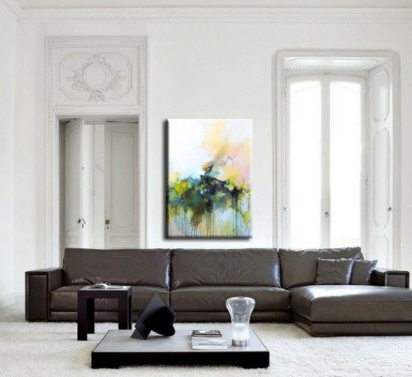 sofa paintings abstract dark brown leather sofas creative wall design with art | interior ...