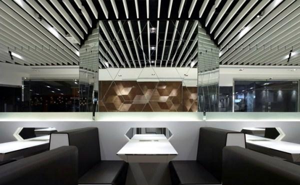 Geometric Shapes Embossing A Modern Restaurant Design