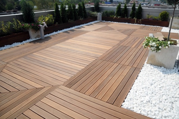 terrace with teak wood flooring