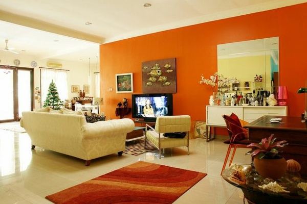 orange living room designs sectional furniture paint walls ideas for wall design interior wanddeko